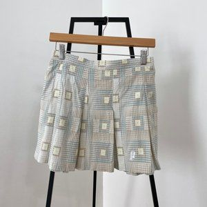 Vintage Retro Patterned Pleated Mini Skirt